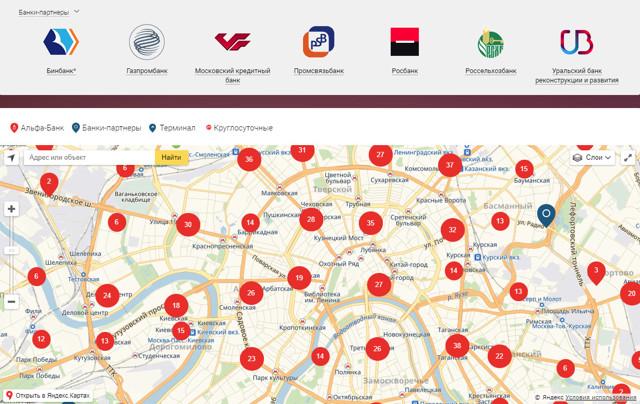 Банки партнеры Бинбанка - банкоматы без комиссии