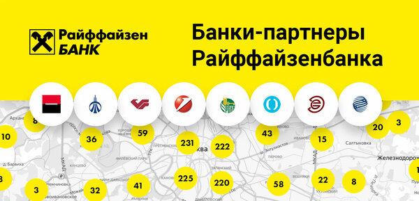 Банки-партнеры Райффайзен банка без комиссии